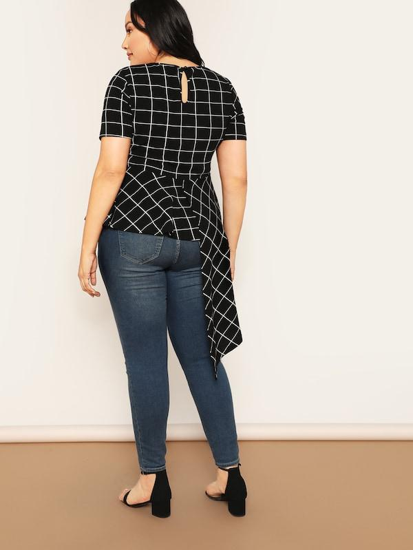 Plus Size Asymmetrical Hem Grid Blouse