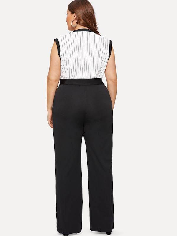 Plus Size Striped Panel Belted Jumpsuit