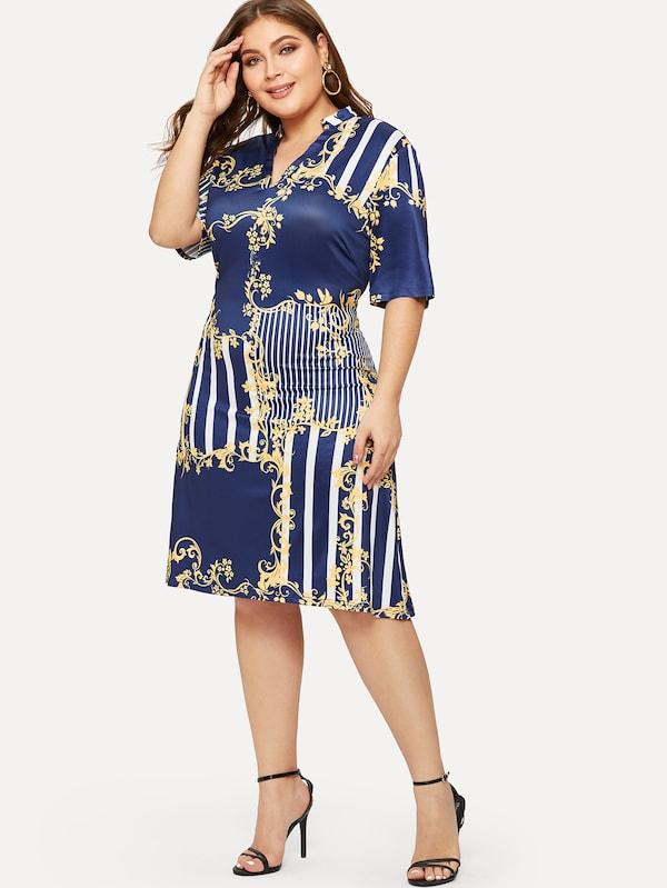 Plus Size Striped Panel V-Neck Dress