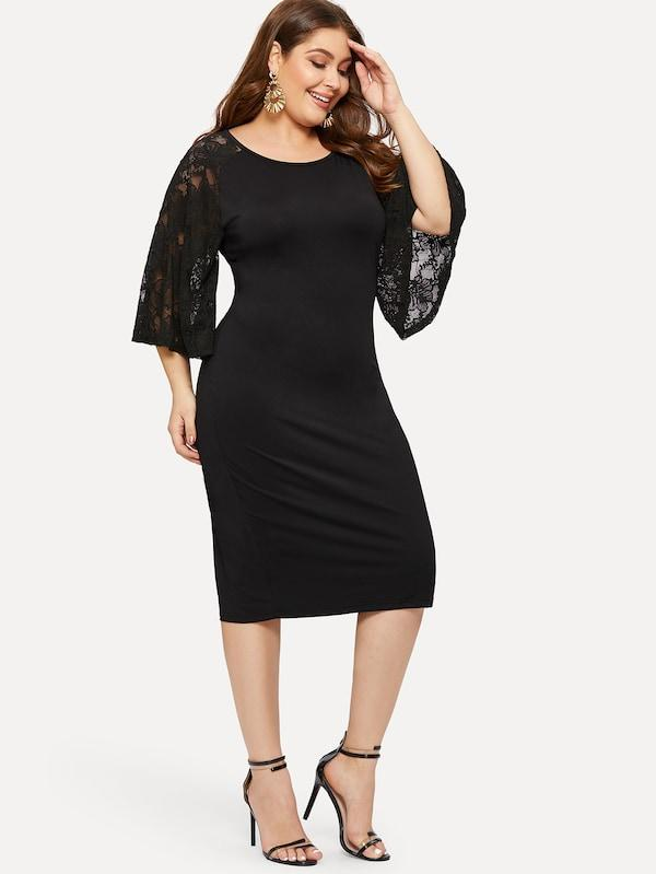 Plus Size Contrast Lace Cuff Keyhole Back Dress