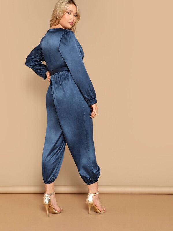 Plus Size Surplice Neck Belted Carrot Leg Jumpsuit
