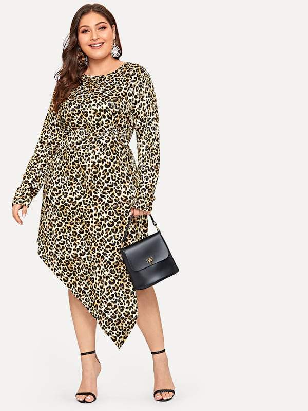 Plus Size Asymmetrical Hem Twist Detail Leopard Dress