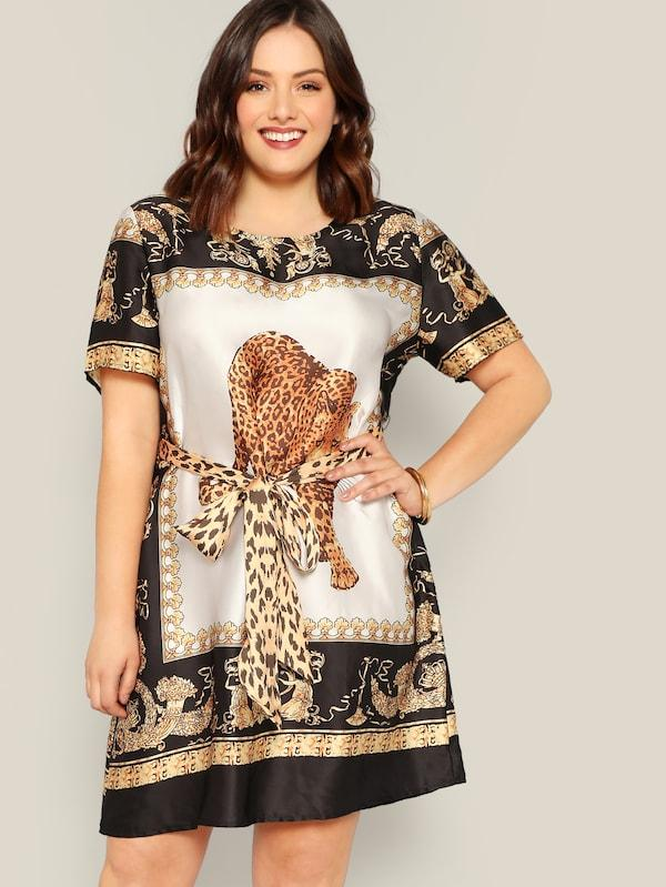 Plus Size Scarf And Animal Print Self Belted Dress