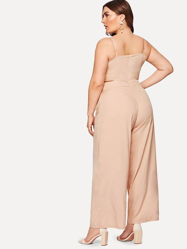 Plus Size Knot Wide Leg Cami Jumpsuit