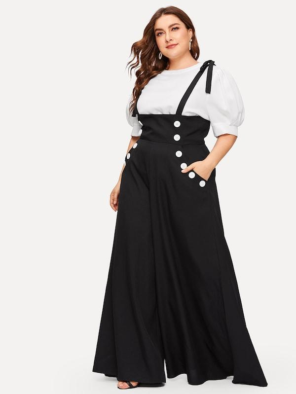 Plus Size Double Breasted Super Wide Leg Knotted Suspender Jumpsuit