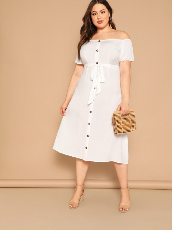Plus Size Off Shoulder Button Front Belted Dress