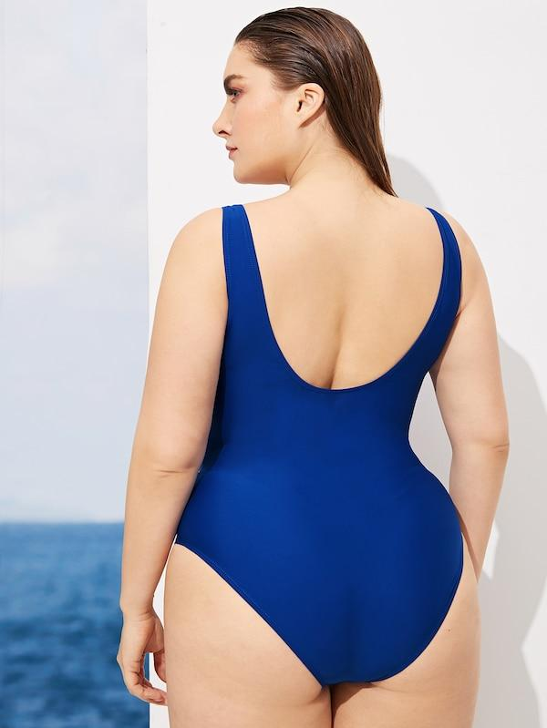 Plus Size Ladder Cut-Out Plunging One Piece Swimsuit