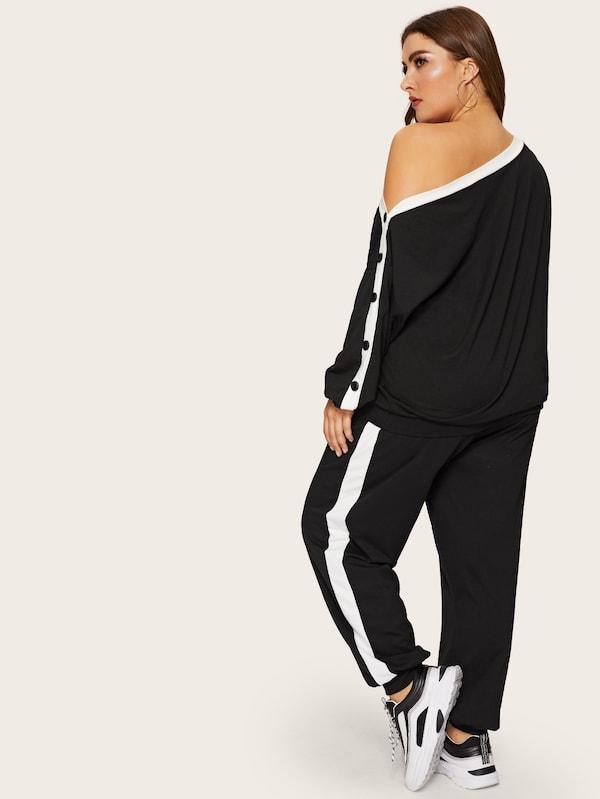 Plus Size Asymmetrical Neck Pullover Sweatpants Set