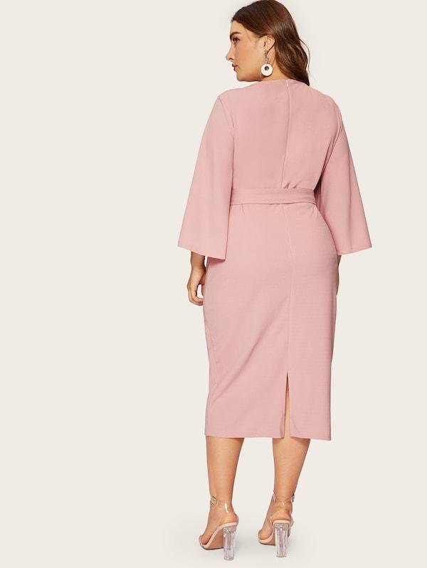 Plus Size Exaggerate Split Sleeve Pencil Dress