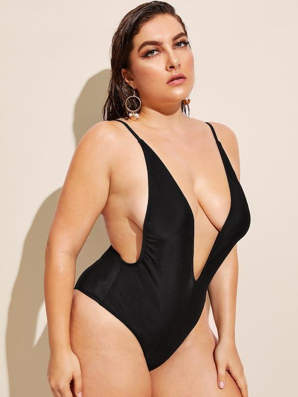 Plus Size Open Back Plunge One Piece Swimsuit