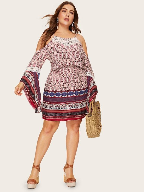 Plus Size Tribal Print Cold Shoulder Dress