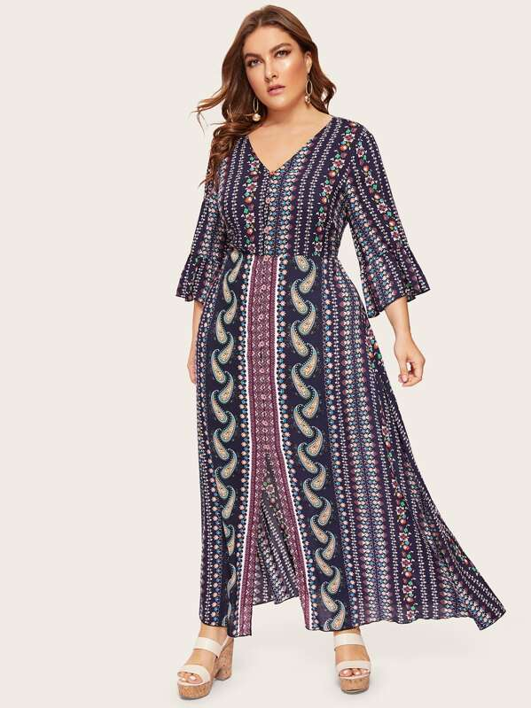 Plus Size Button Front V-Neck Paisley Split Dress