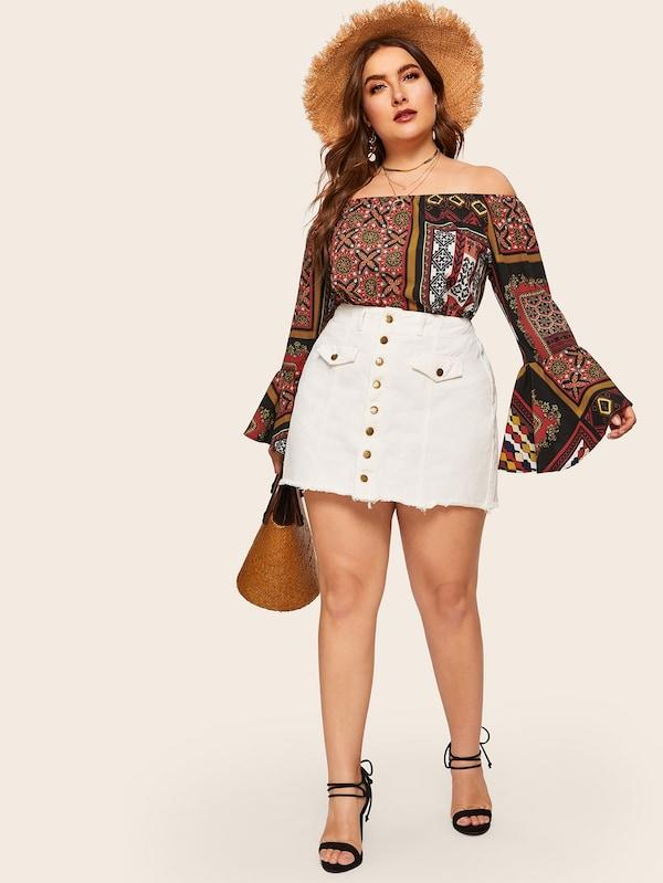 Plus Size Off Shoulder Tribal Print Flounce Sleeve Blouse