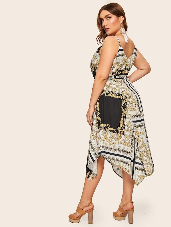 Plus Size Baroque Print Wrap Cami Dress