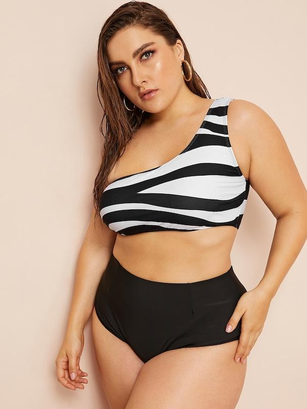 Plus Size Zebra Print Ladder Cut-Out One Shoulder Bikini