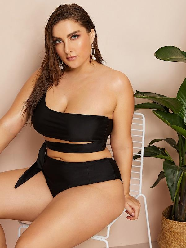 Plus Size One Shoulder Top With High Waist Bikini