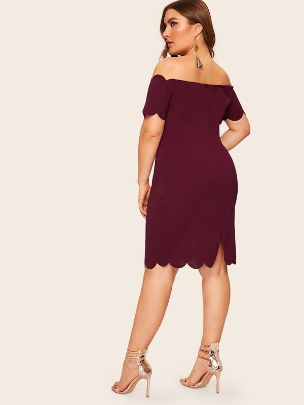 Plus Size Off Shoulder Scallop Trim Dress