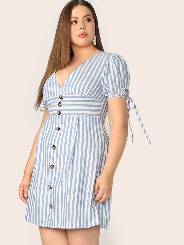 Plus Size V Neck Button Front Tied Cuff Striped Dress
