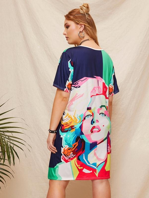 Plus Size Figure Print T-Shirt Dress