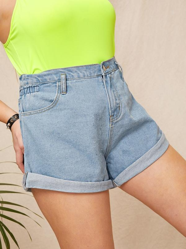 Plus Size Rolled Trim Denim Shorts