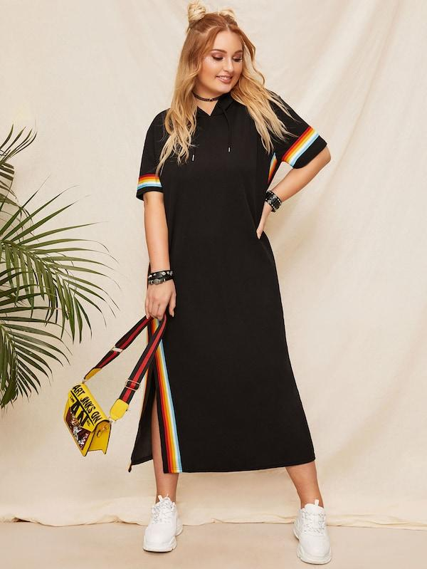 Plus Size Side Striped Slit Hoodie Dress
