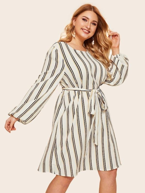 Plus Size Waist Belted Bishop Sleeve Stripe Dress