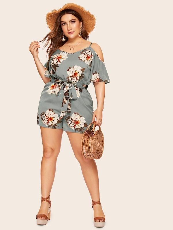 Plus Size Floral Print Cold Shoulder Romper