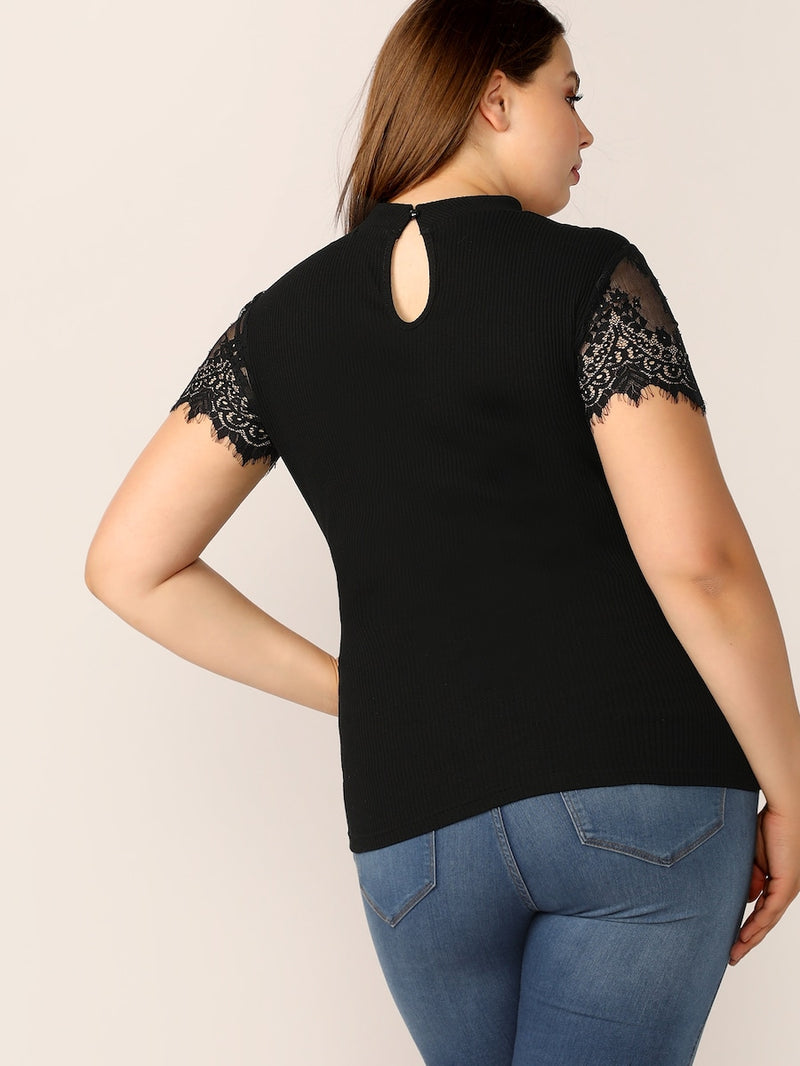 Plus Size Mock Neck Cutout Lace Yoke Rib-Knit Top