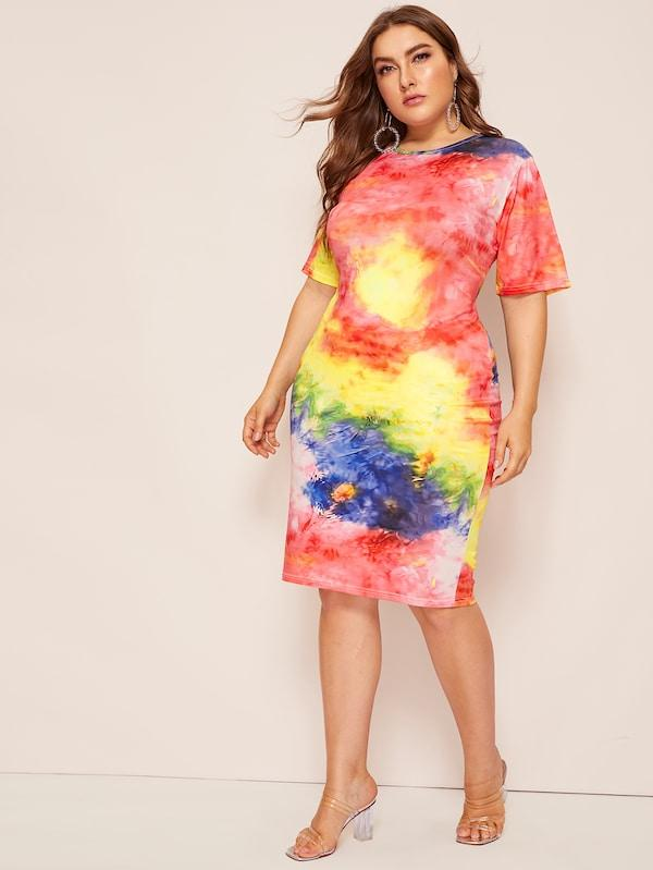 Plus Size Tie Dye Bodycon Dress