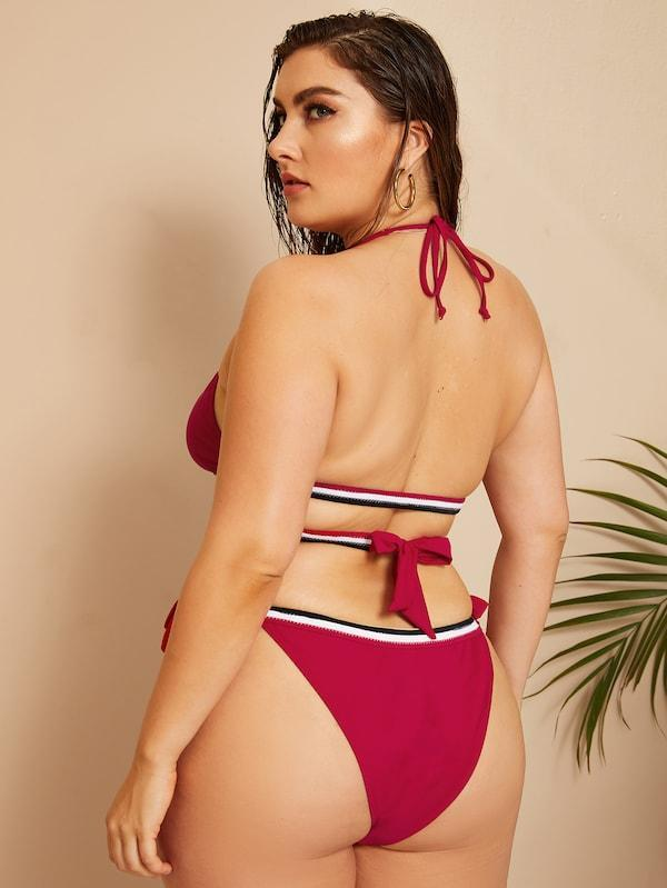 Plus Size Striped Trim Triangle Top With Tie Side Bikini