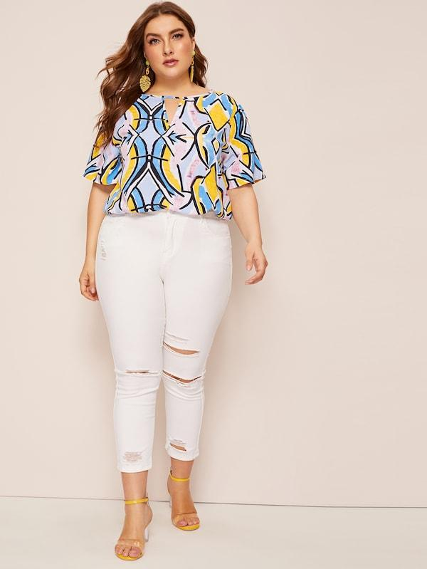 Plus Size Allover Print V-Cut Front Top
