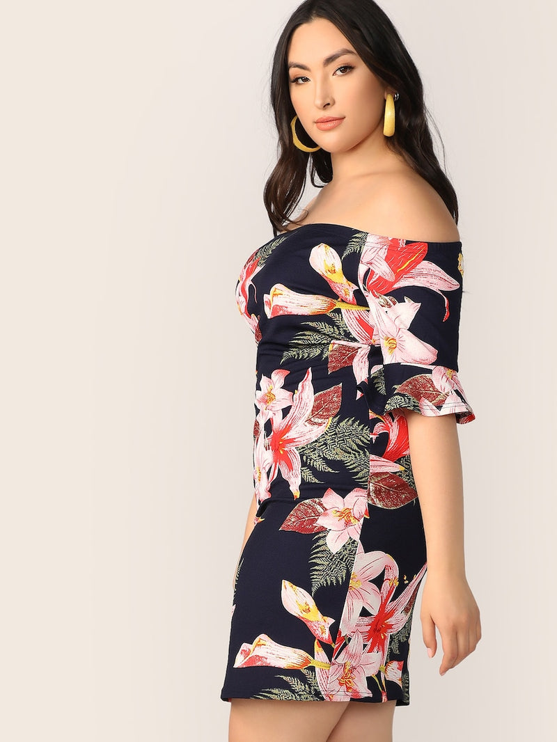 Plus Size Bell Sleeve Floral Print Bardot Dress