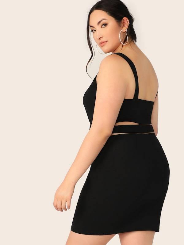 Plus Size Crisscross Hem Tank Top & Skirt Set