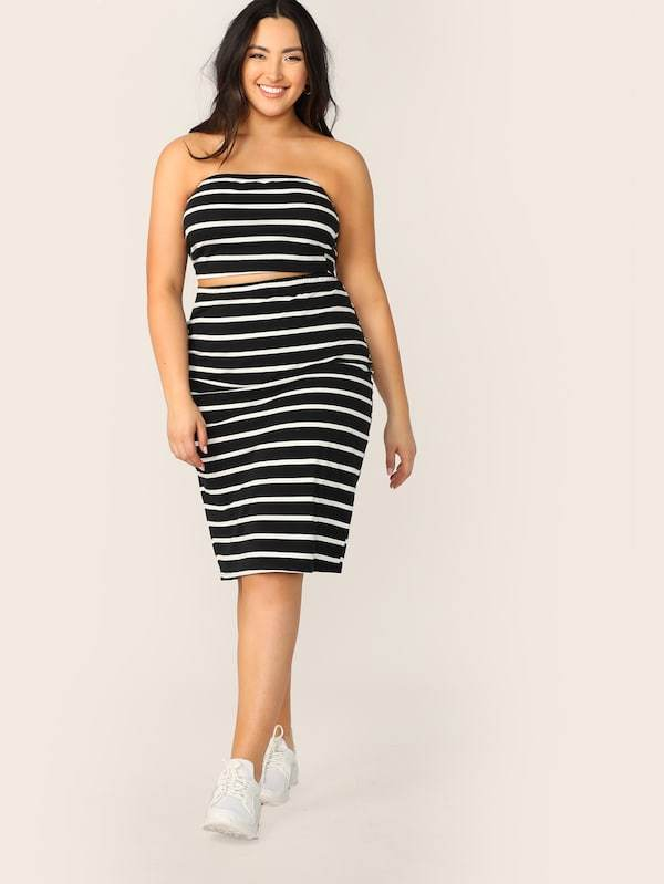 Plus Size Striped Bandeau Top & Pencil Skirt Set