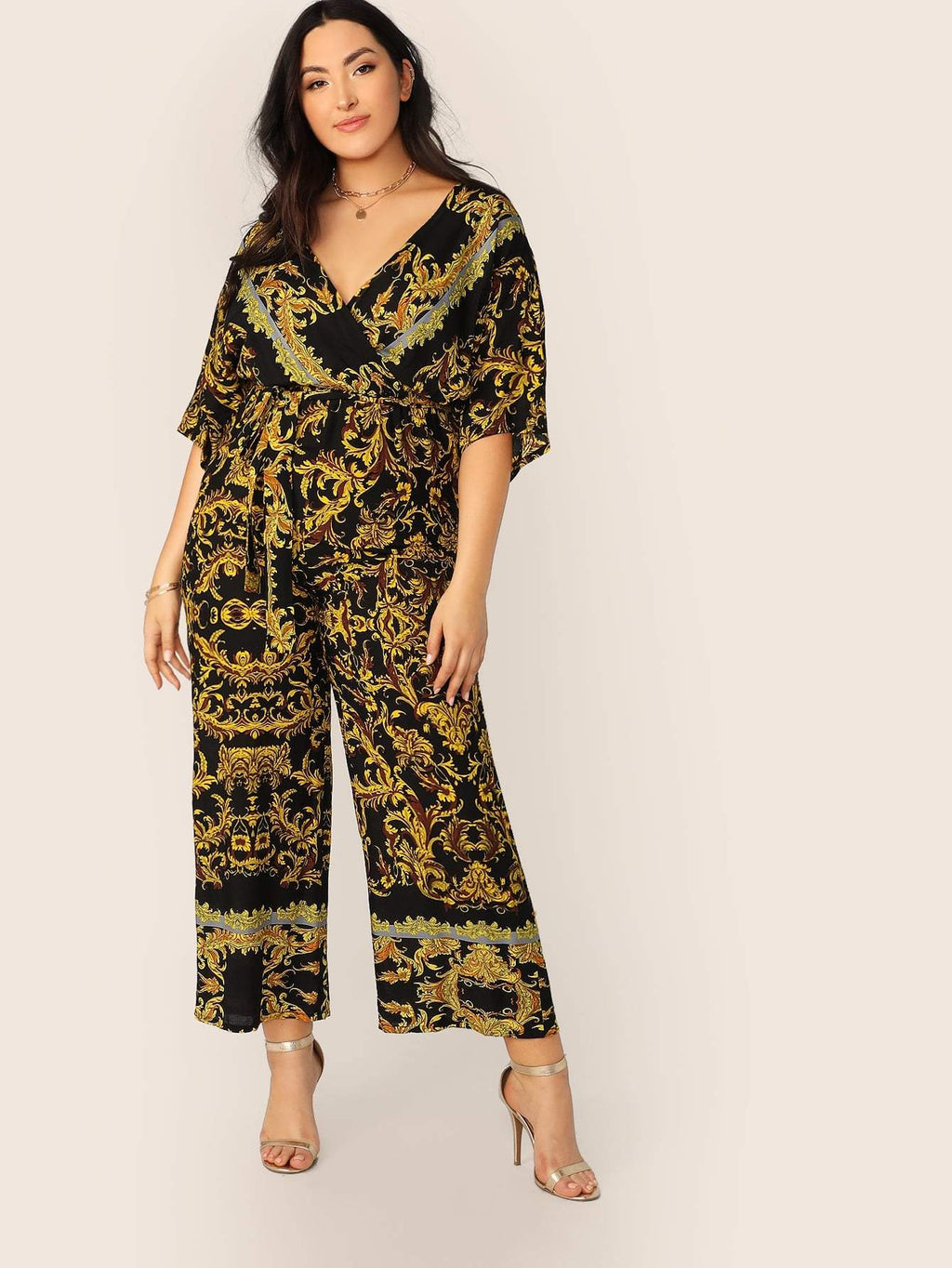 Plus Size Designer Print Wrap Belted Wide Leg Jumpsuit
