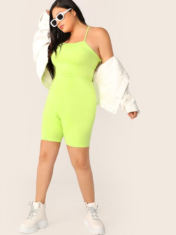 Plus Size Neon Lime Lace Up Back Unitard Romper