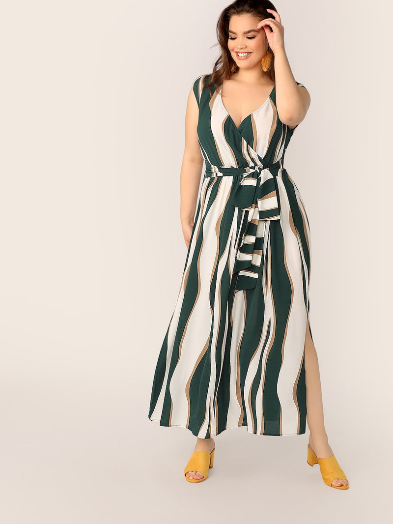 Plus Size Surplice Neck Self Belted Split Dress