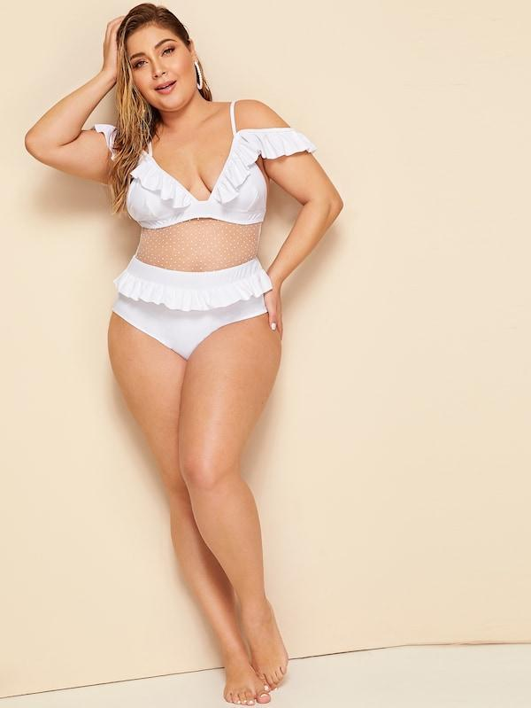 Plus Size Ruffle Trim Cut-Out One Piece Swimwear
