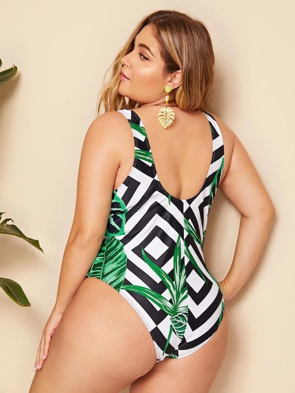 Plus Size Striped & Leaf Print One Piece Bikini