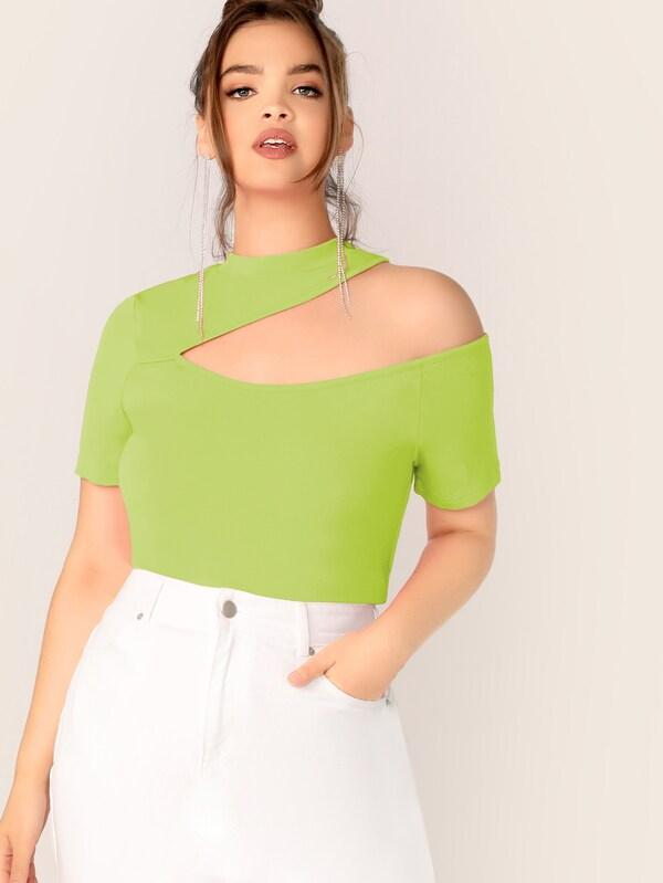 Plus Size Neon Lime Cutout Shoulder Slim Fitted Top