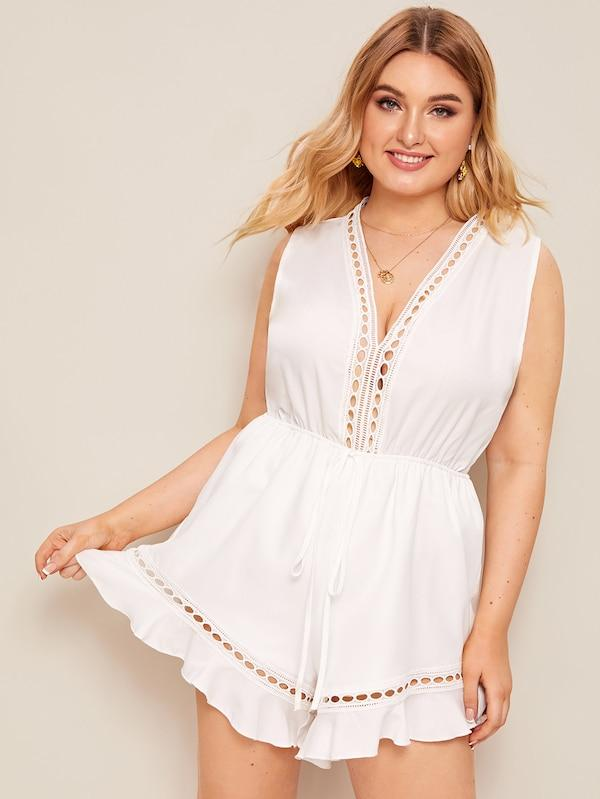 Plus Size Drawstring Waist Cut-Out Romper