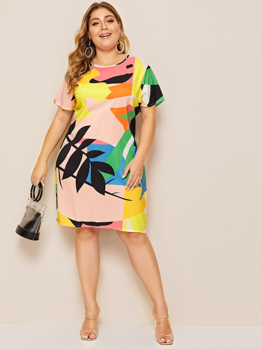 Plus Size Leaf Print Tunic Dress