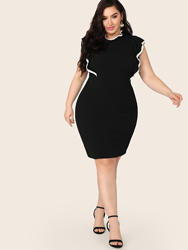 Plus Size Contrast Binding Ruffle Trim Dress