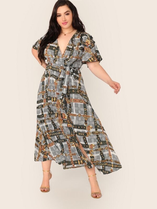 Plus Size Surplice Neck Scarf Print Belted Dress