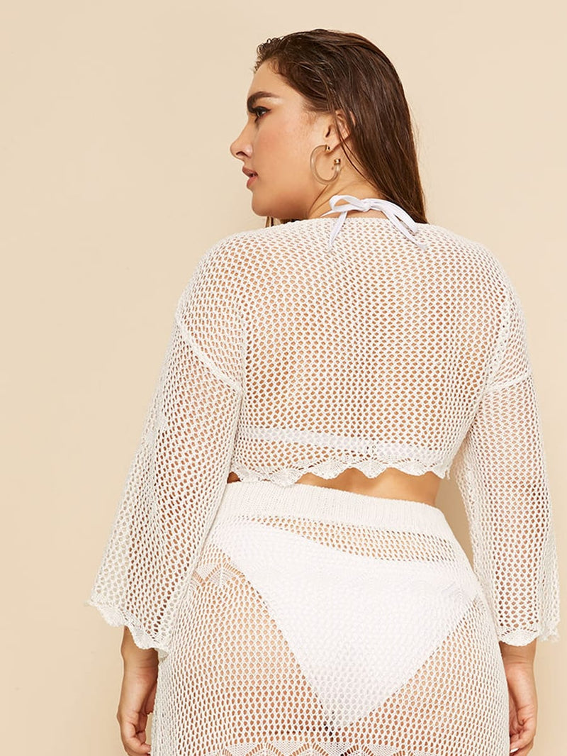 Plus Size Crochet Sheer Cover Up Without Bikini & Skirt