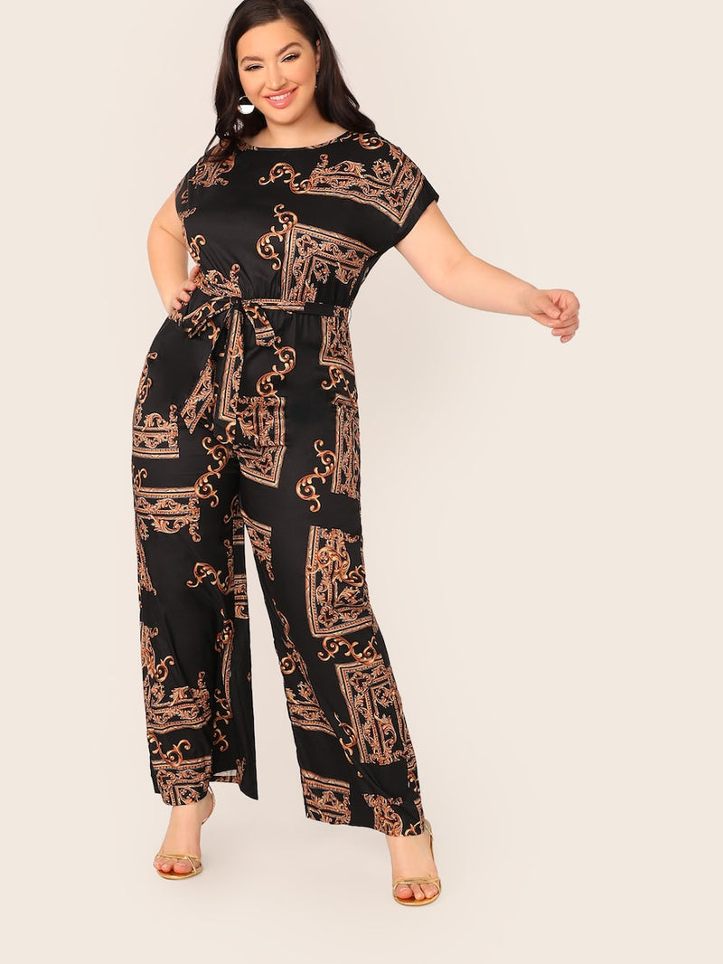 Plus Size Scarf Print Self Belted Palazzo Jumpsuit