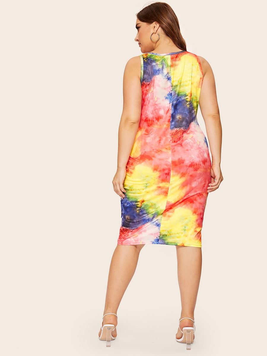 Plus Size Tie Dye Tank Dress