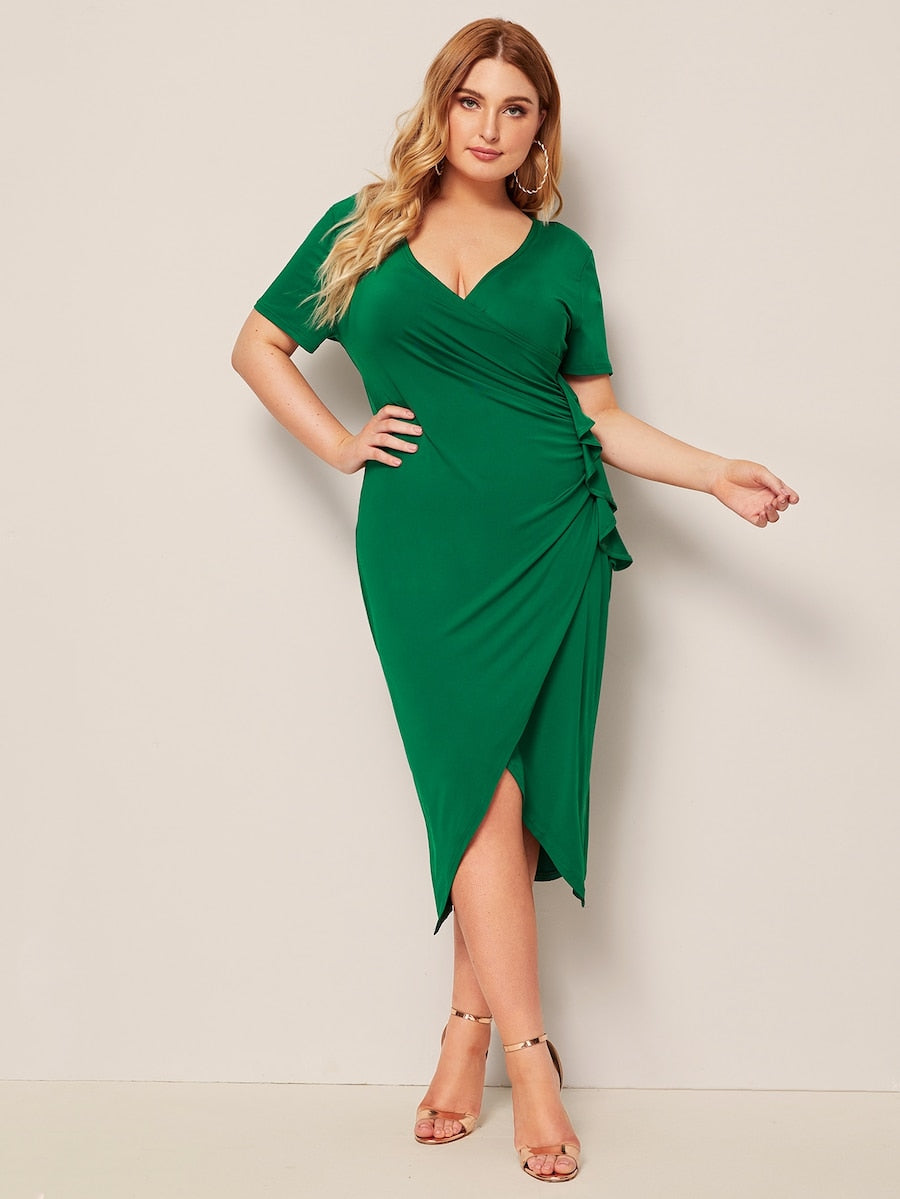 Plus Size Solid Ruffle Trim Wrap Slim Dress