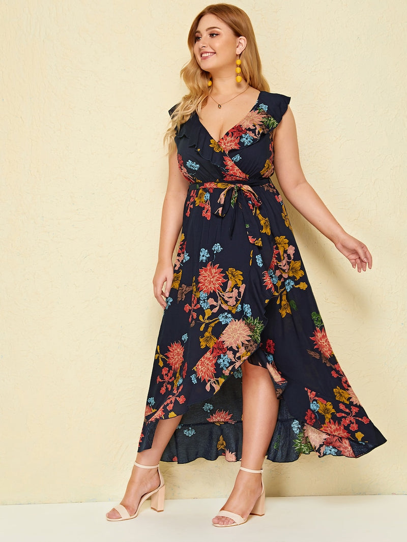 Plus Size Floral Print Ruffle Hem Wrap Belted Dress