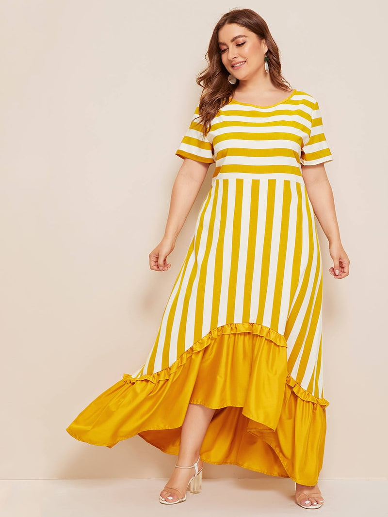 Plus Size Ruffle Trim Asymmetrical Hem Striped Dress